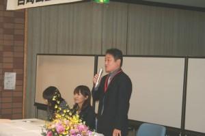 山口同窓会長の挨拶です。