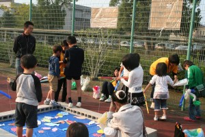 テニスコートが子ども広場に!