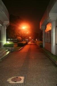 東門へと続く道は優しいオレンジの光で照らされています。